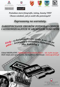 plakat: zabezpieczanie zbiorów fotograficznych i audiowizualnych w archiwum domowym